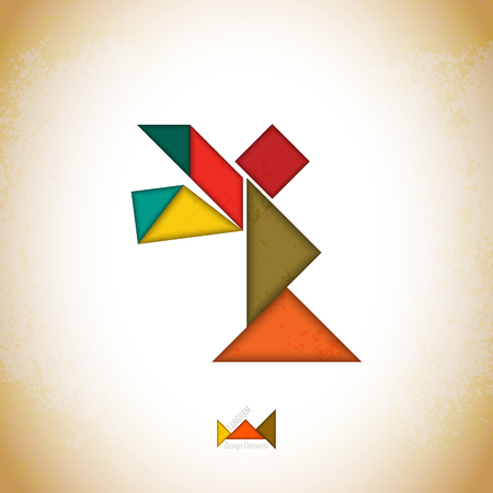 Tangram angel. Angel made of tangram pieces, geometric shapes. Traditional Chinese puzzle tangram solution card, learning game for kids, children. Abstract geometric art