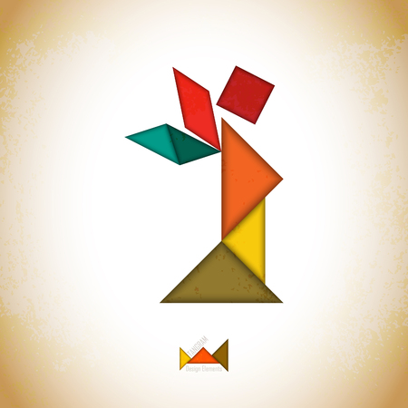 icon series: Tangram angel. Angel made of tangram pieces, geometric shapes. Traditional Chinese puzzle tangram solution card, learning game for kids, children. Abstract geometric art