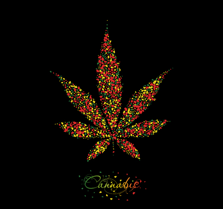 indica: Cannabis leaf background. Christmas card Illustration