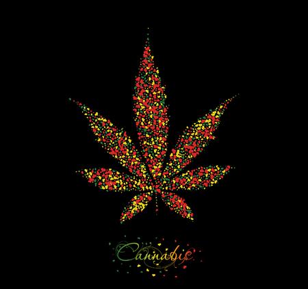 Cannabis leaf background. Christmas card Illustration