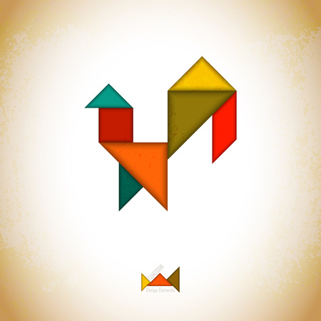 Tangram rooster. Rooster made of tangram pieces, geometric shapes. Traditional Chinese puzzle tangram solution card, learning game for kids, children. Abstract geometric art