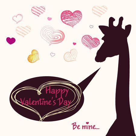 girafe: Happy Valentines day card with girafe. Valentines Day card