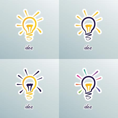 Set of Doodle Lamps - Idea Illustration