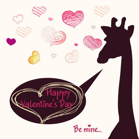 letterpress type: Happy Valentines day card with girafe. Valentines Day card