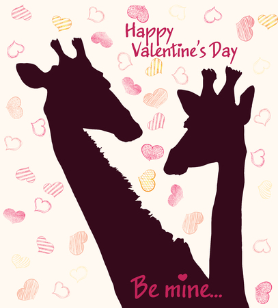 Happy Valentines day card with girafe. Valentines Day card Stock Vector - 72936154