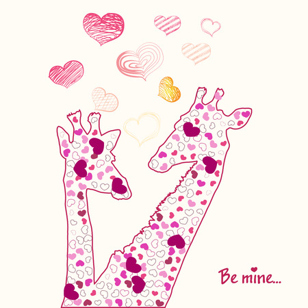 Happy Valentines day card with girafe. Valentines Day card