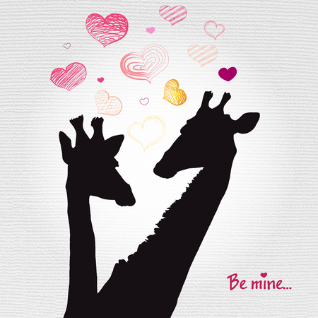 Happy Valentines day card with girafe. Valentines Day card Stock Vector - 72936155
