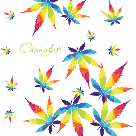 Colorful Cannabis leaf background