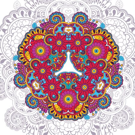 Vector floral pattern in doodle style with flowers