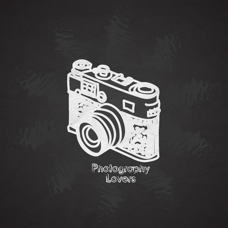 Silhouette flat vector icon with digital mini camera. Photography art. Megapixel photocamera. Cartoon style.