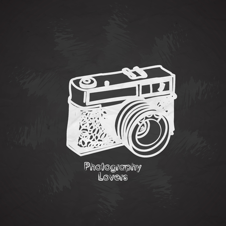 Silhouette flat vector icon with digital mini camera. Photography art. Megapixel photocamera. Cartoon style. Illustration, element for your design. Photographic lens. Simple. Monochrome. Creativity Illustration