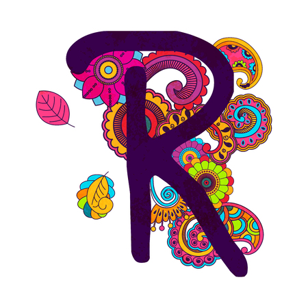 Hand Drawn Doodling Alphabet in abstract floral stile