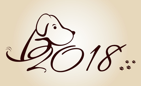 Illustration of a dog, symbol of 2018 on the Chinese calendar.