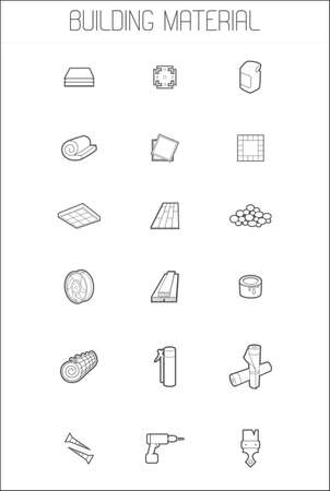 hardware store: Set icons of building material Illustration