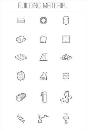 Set Ikonen des Baumaterials Standard-Bild - 52689943