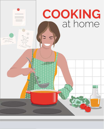 A young woman is cooking at home. Vector illustration Иллюстрация