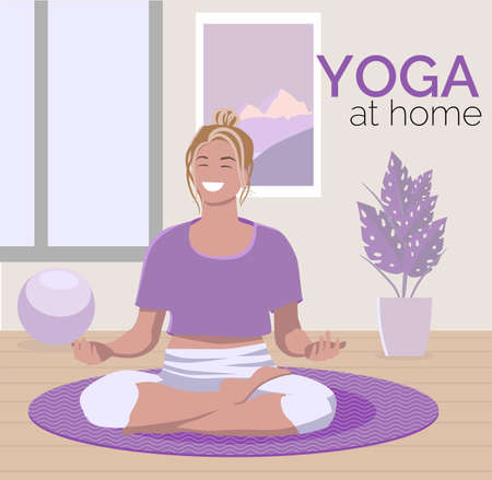 Young woman doing yoga at home. Vector illustration Ilustracja