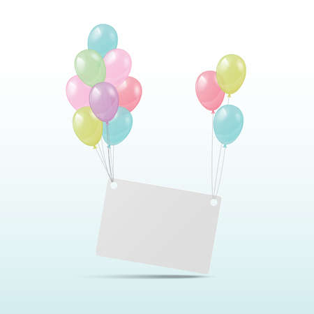 inflating: Shiny balloons with card for congratulations. Vector illustration. Illustration