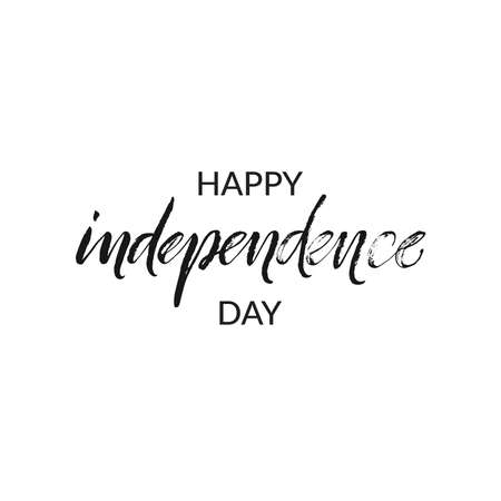 Hand drawn word. Brush pen lettering with phrase Happy independence day.