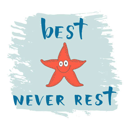 babygirl: Print with Starfish and phrase best never rest for children t-shirt.
