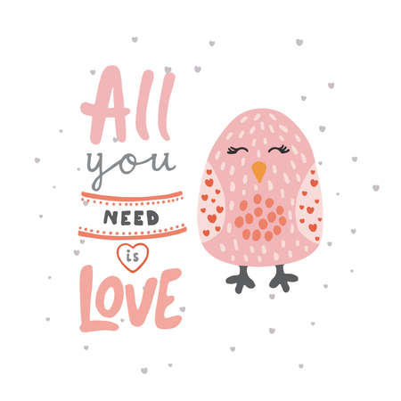 Print with cute bird and phrase all you need is love for children t-shirt. Illustration