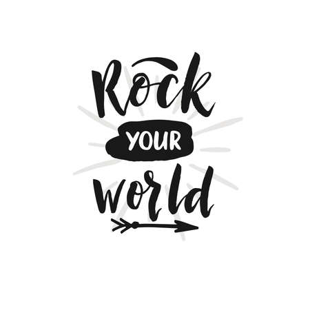 hard: Hand drawn word. Brush pen lettering with phrase Rock you world.
