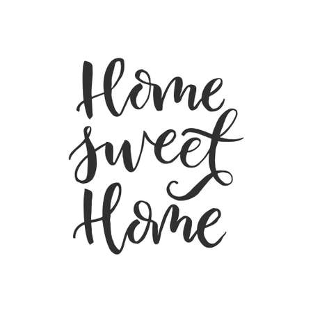 Hand drawn word. Brush pen lettering with phrase home sweet home illustration.