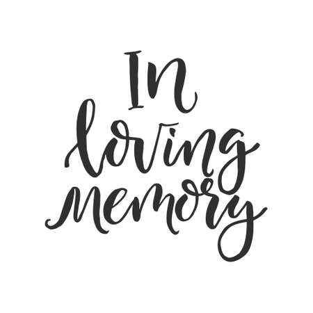 """Palabra dibujada a mano. Pincel rotulador con la frase """"en memoria amorosa"""" Ilustración de vector"""
