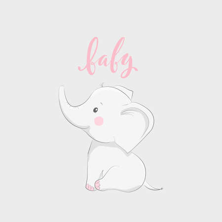 Cute vector illustration with elephant and baby text