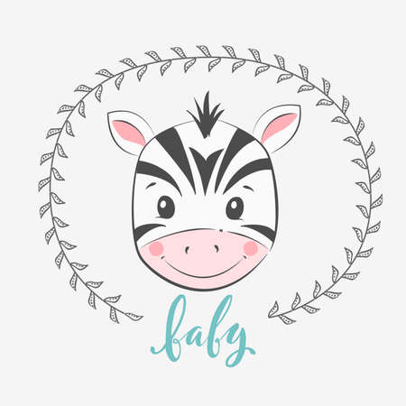Cute vector illustration with zebra baby for baby wear and invitation card with phrase Baby.