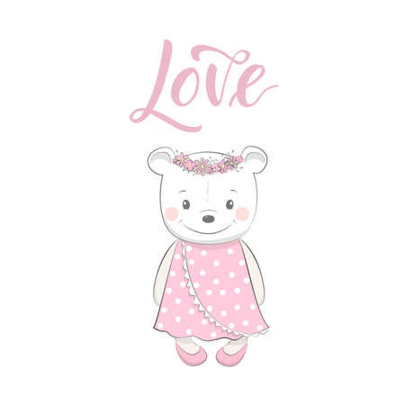 Cute vector illustration with bear baby for baby wear and invitation card with phrase love.
