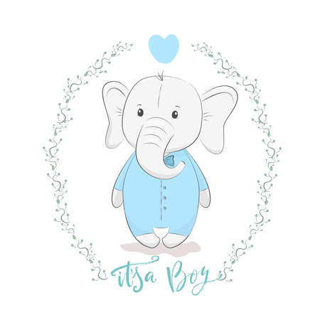 Cute vector illustration with elephant baby for baby wear and invitation card with phrase