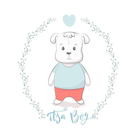Cute vector illustration with dog baby for baby wear and invitation card with phrase