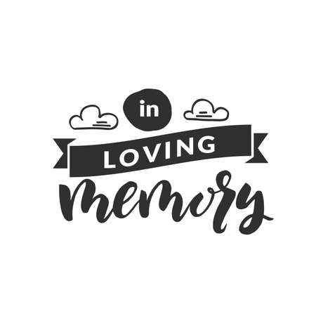 Hand drawn word. Brush pen lettering with phrase  in loving memory  Stok Fotoğraf