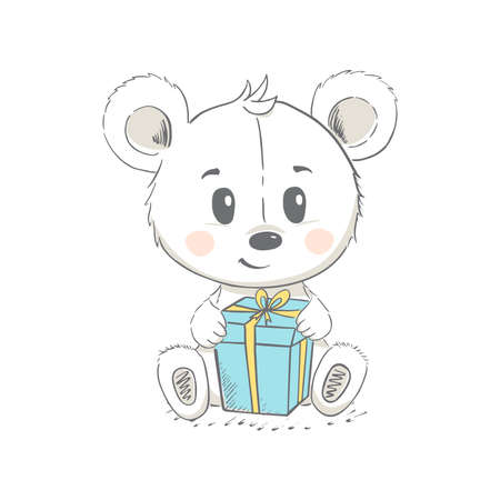 Vector illustration of a cute bear. Concept for children print.