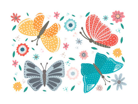 Colored flowers and butterfly isolated on white background.