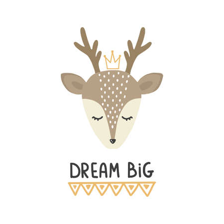 Cute vector illustration with deer baby with phrase Dream big for baby wear and invitation card. Çizim