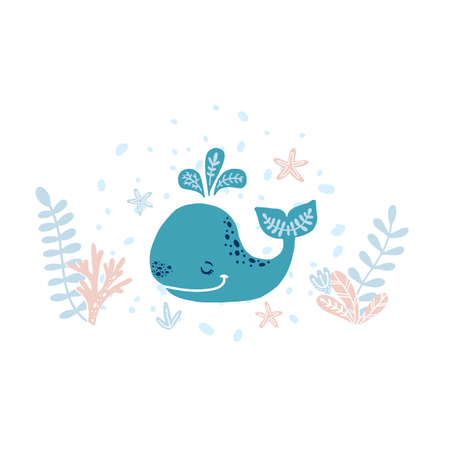 Cute vector illustration with whale for baby wear and invitation card.