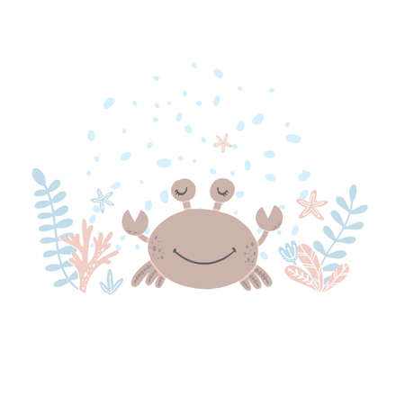 Cute vector illustration with crab for baby wear and invitation card.