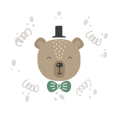 Cute vector illustration with bear baby for baby wear and invitation card. Çizim
