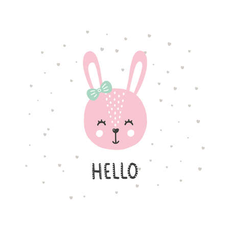 Cute vector illustration with bunny baby for baby wear and invitation card.  イラスト・ベクター素材