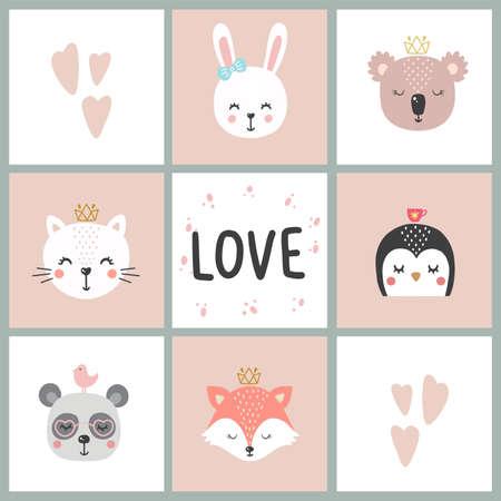 Conjunto de ilustración vectorial lindo con animal bebé para bebé desgaste y tarjeta de invitación.