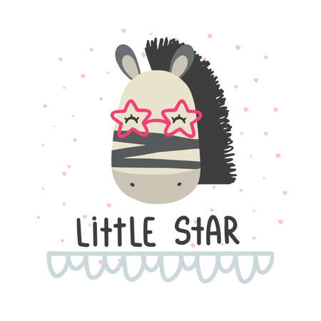 Cute vector illustration with deer baby with phrase little star for baby wear and invitation card. Ilustração
