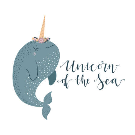 Cute vector illustration with narwhal baby for baby wear and invitation card. Ilustração