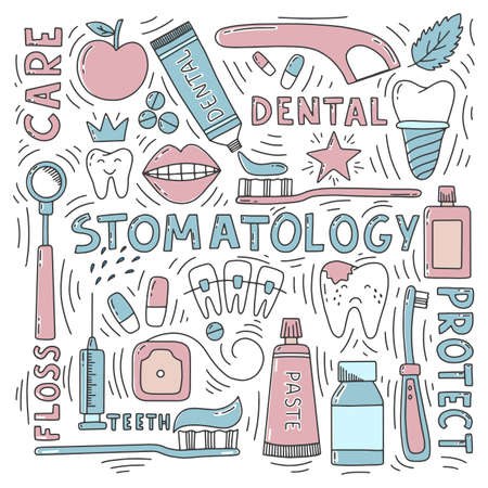 Stomatology doodle set with lettering