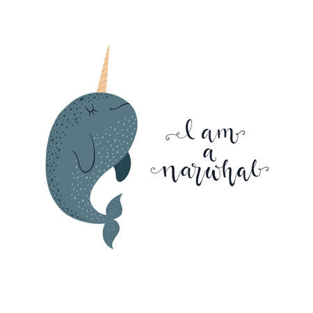 Cute vector illustration with narwhal baby for baby wear and invitation card. Иллюстрация