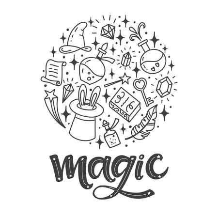 Set of vector illustration about magic.