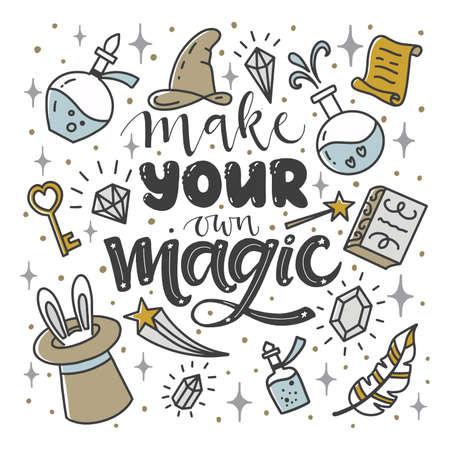 """Citazione ispiratrice """"Crea la tua magia"""". Lettere. Vettoriali"""