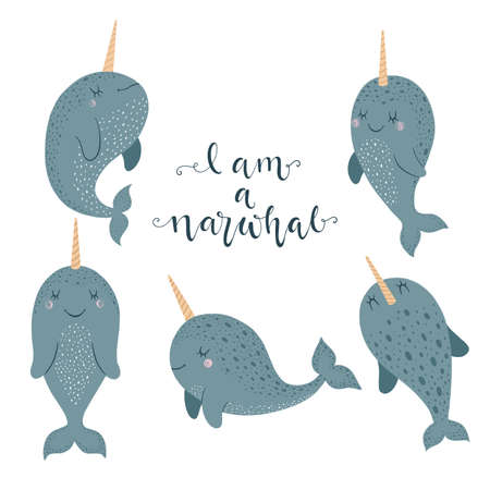 Set of cute vector illustration with narwhal baby for baby wear and invitation card. Иллюстрация