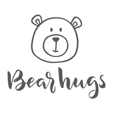 "Hand drawn word and bear. Brush pen lettering with phrase ""bear hugs"" Ilustração Vetorial"